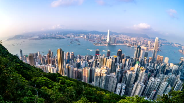 view from victoria the peak in day time in hong kong - wide angle stock videos & royalty-free footage