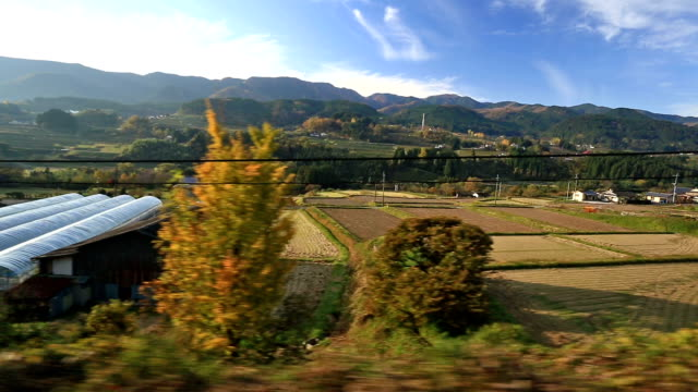view from window in japanese train - oita prefecture stock videos & royalty-free footage