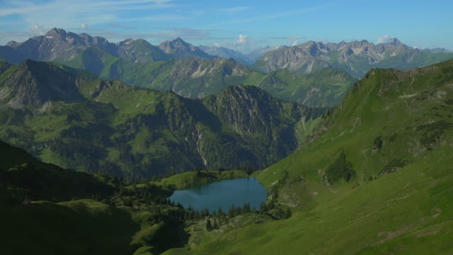 View from Zeigersattel to Lake Seealp with the Allgaeu Alps at Nebelhorn Area near Oberstdorf, Allgaeu, Swabia, Bavaria, Germany