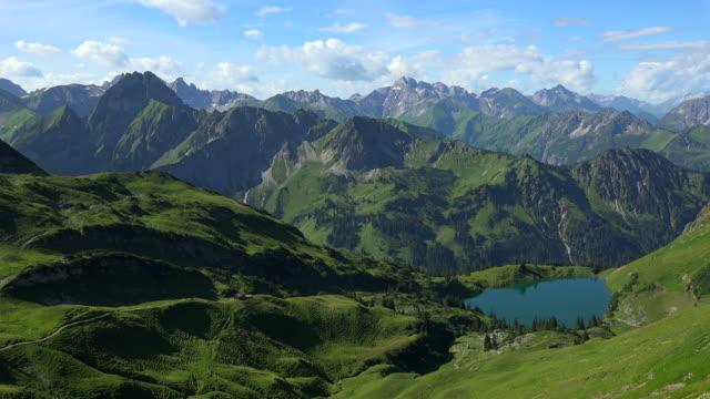 View from Zeigersattel to Lake Seealp with the Allgaeu Alps at Nebelhorn Area near Oberstdorf, Allgaeu, Swabia, Bavaria, Germany