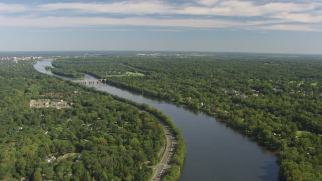 WS AERIAL View high flying over Delaware river / Trenton, New Jersey, United States