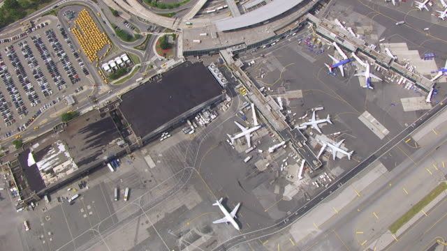WS AERIAL View high flying over La Guardia airport / New York, Nevada, United States