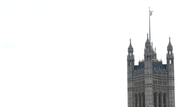 a view houses of parliament in london united kingdom on may 6 2019 footage by manuel romano/nurphoto via getty images - bandiera inglese video stock e b–roll