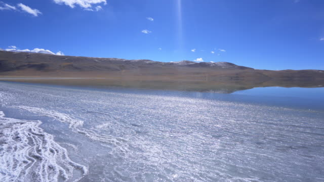view ice lake tomori  landscape at leh ladakh district ,norther part of india - frozen water stock videos & royalty-free footage