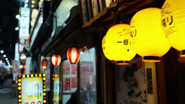 view into restaurant in yakitori alley - narrow stock videos & royalty-free footage