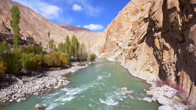 view lake landscape and snow mountains at leh ladakh district ,norther part of india - valley stock videos & royalty-free footage