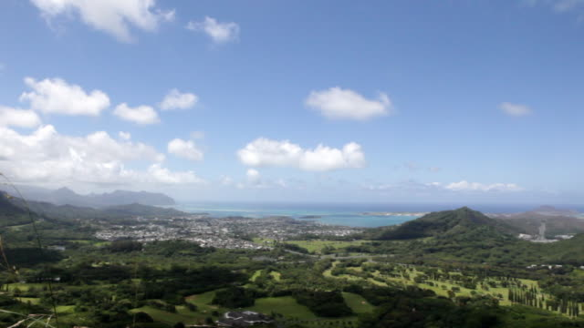 view look out over mountain and ocean oahu - nu stock videos & royalty-free footage