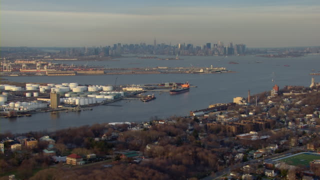 view looking across new york harbor from staten island toward the island of manhattan, new york city. - new york harbor stock videos & royalty-free footage
