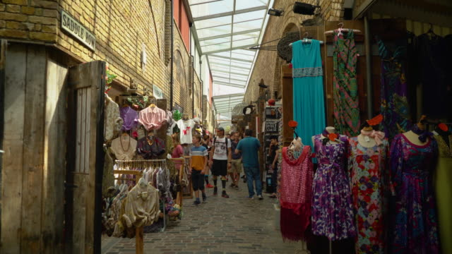 View looking down Saddle Row in Stables Market, Camden