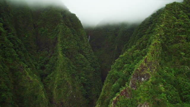 view looking into valley from helicopter - turtle bay hawaii stock videos and b-roll footage