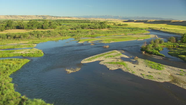 MS AERIAL View low over Missouri Headwaters / Montana, United States
