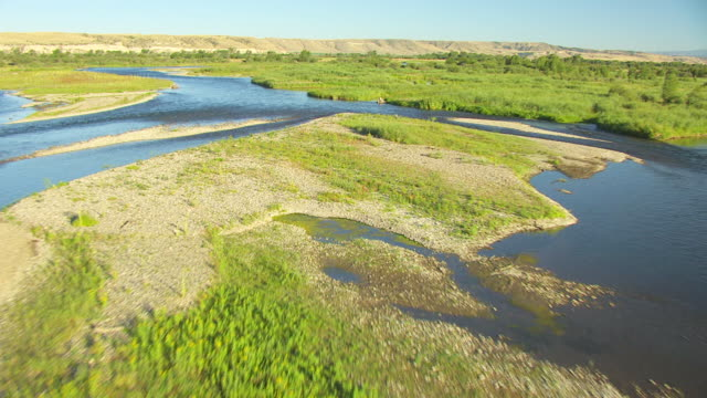 MS AERIAL TD View low over Missouri Headwaters / Montana, United States