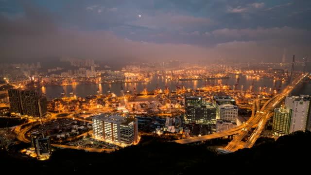stockvideo's en b-roll-footage met td tl d2n weergave marineindustrie containervervoer op tsing yi in hong kong - hong kong