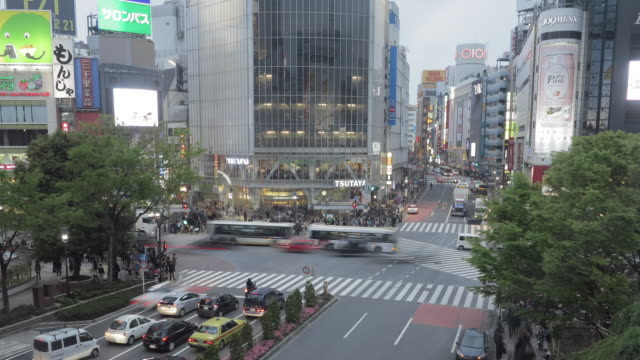 t/l view near shibuya station/shibuya crossing - shibuya station stock videos and b-roll footage