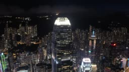 View night downtown cityscape of Hong Kong