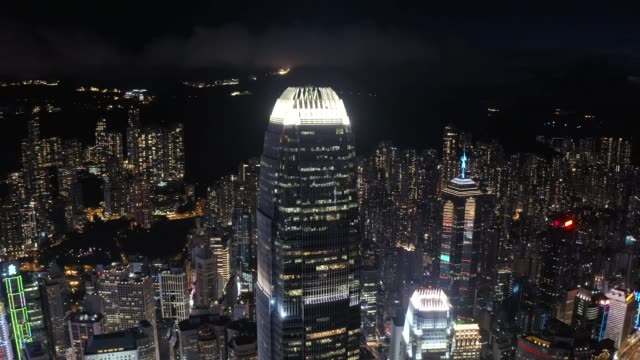 view night downtown cityscape of hong kong - headquarters stock videos & royalty-free footage