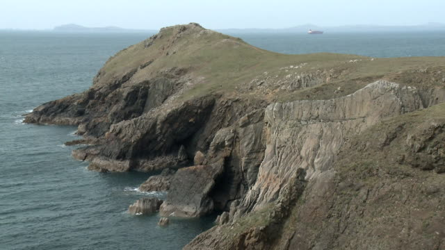 view north from wooltack point towards milford haven, pembrokeshire, wales - bay of water stock videos & royalty-free footage
