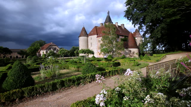 WS View of 14 century medieval castle / Beauvoir, Allier, France
