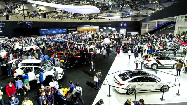 view of 2015 seoul motor show in kintex - tradeshow stock videos & royalty-free footage