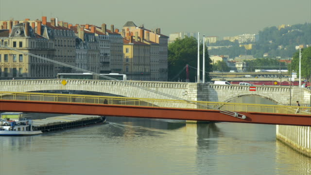 View of 5 Bridges over River Saone,barge travelling  on river,MS