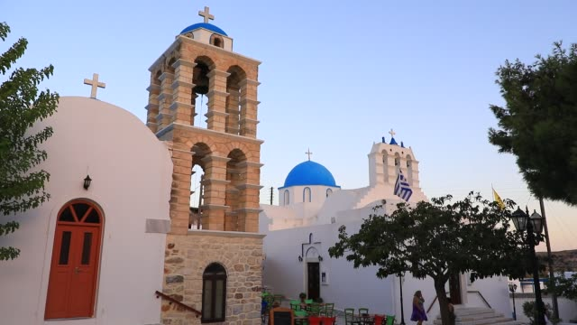 stockvideo's en b-roll-footage met view of a blue church cupola in the kostos village on august 14 2020 in kostos greece the island of paros has seen increasing tourist numbers in... - charmant