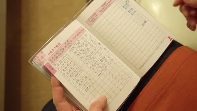 View of a booklet given to Japanese mothers which tracks their baby's development
