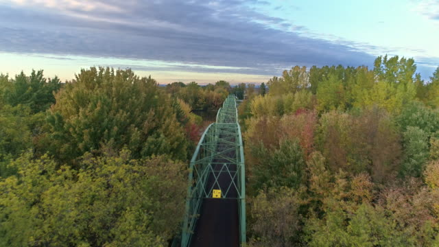view of a bridge in quebec, canada at sunset - quebec stock videos & royalty-free footage