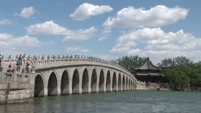 view of a bridge in summer palace beijing china - palast stock-videos und b-roll-filmmaterial