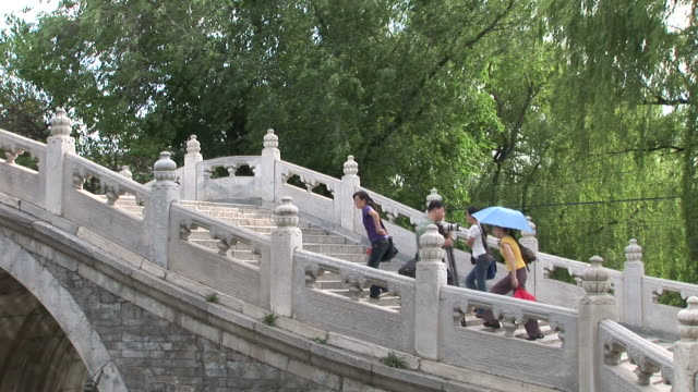 view of a bridge in summer palace beijing china - stone material stock videos & royalty-free footage