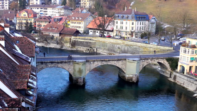 view of a bridge near spitalgasse street in bern city - bicycle parking station stock videos and b-roll footage