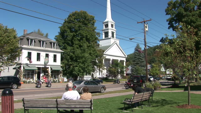 view of a church in vermont united states - kirchturmspitze stock-videos und b-roll-filmmaterial