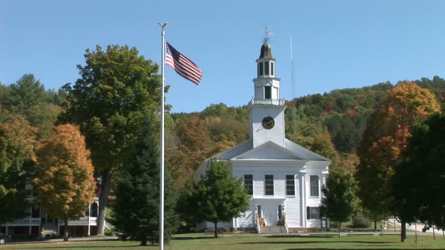 view of a church in vermont united states - steeple stock videos & royalty-free footage