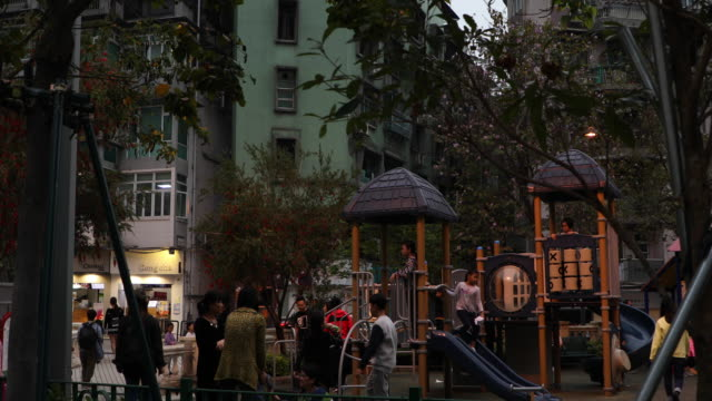 view of a city playground in macao,china - macao stock videos & royalty-free footage