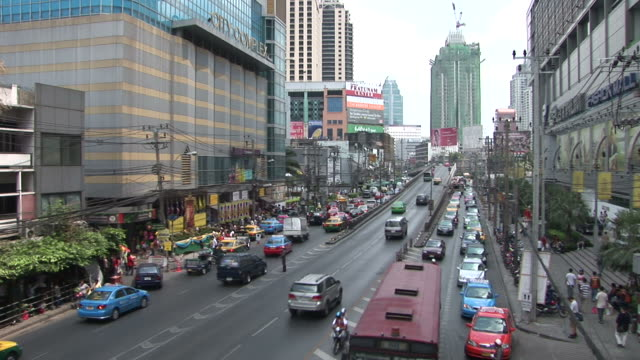 View of a City Street in Bangkok Thailand