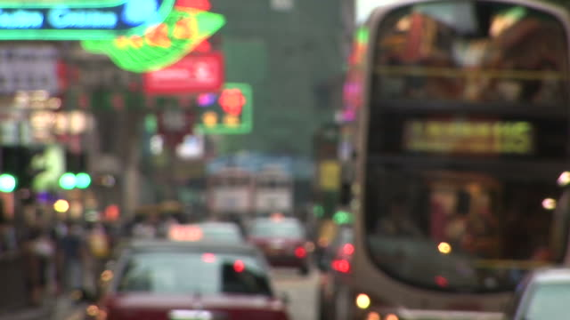 view of a city street in hong kong china - rack focus stock videos & royalty-free footage