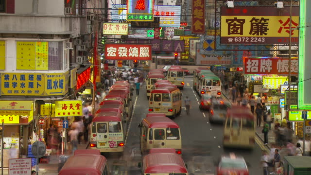 view of a city street in hong kong, china - 少於10秒 個影片檔及 b 捲影像