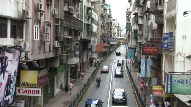 View of a city street in Macau China