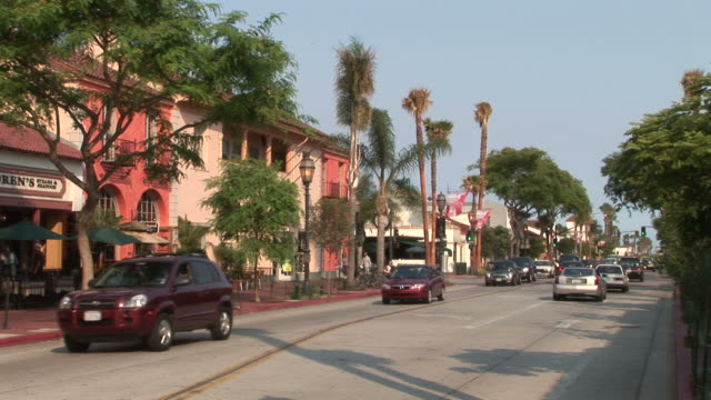 view of a city street in santa barbara united states - fan palm tree stock videos & royalty-free footage