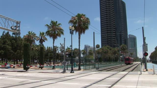 vídeos de stock, filmes e b-roll de view of a city tram passing in san diego united states - fan palm tree