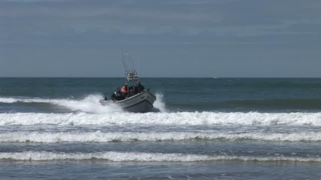 View of a coast guard boat in the beach of Oregon Coast United States