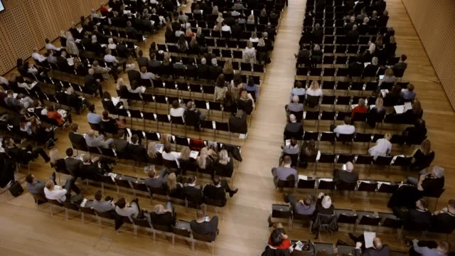 tu view of a conference hall during a seminar - seminar stock videos & royalty-free footage