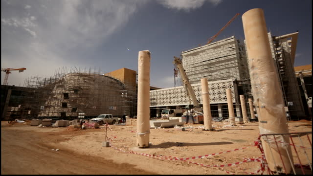 view of a construction site at the princess nora university which was the first college for women in the kingdom. the new campus was inaugurated by... - architecture stock videos & royalty-free footage