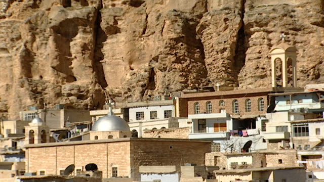 view of a convent in maaloula. - convent stock videos & royalty-free footage