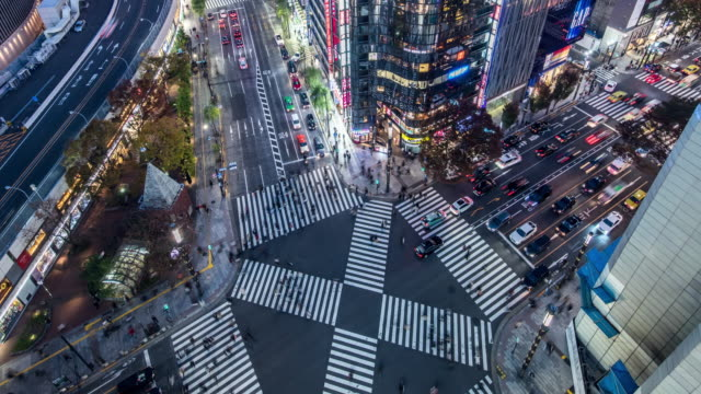 t/l ws ha td view of a crossroad in ginza at night / tokyo, japan - tokyo japan stock videos & royalty-free footage