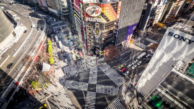 T/L WS HA View of a Crossroad in Ginza / Tokyo, Japan