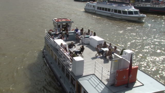 view of a cruise at thames river in london - thames river stock videos & royalty-free footage