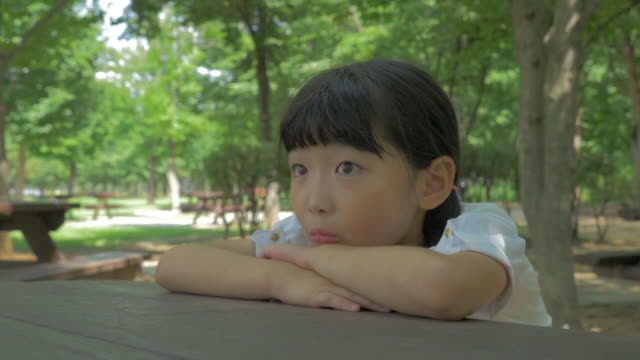 View of a cute girl looking something with blank facial expression in summer at Seoulforest (the third largest park in Seoul city)