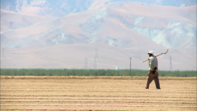 vidéos et rushes de view of a farmer with a digger walking across the dried land at california - dry clothes