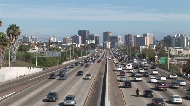 view of a freeway in san diego united states - fan palm tree stock videos & royalty-free footage