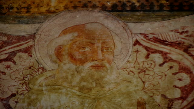 view of a fresco of saint maron at the church of saint maron in volperino. during the crusades the relics of saint maron, founder of the maronite... - the crusades stock videos & royalty-free footage